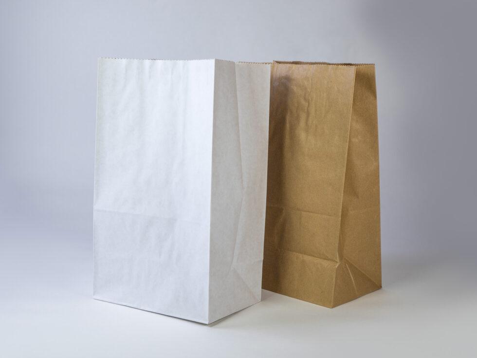 Sac en papier 3 soufflets sortie de caisse avec et sans poignées