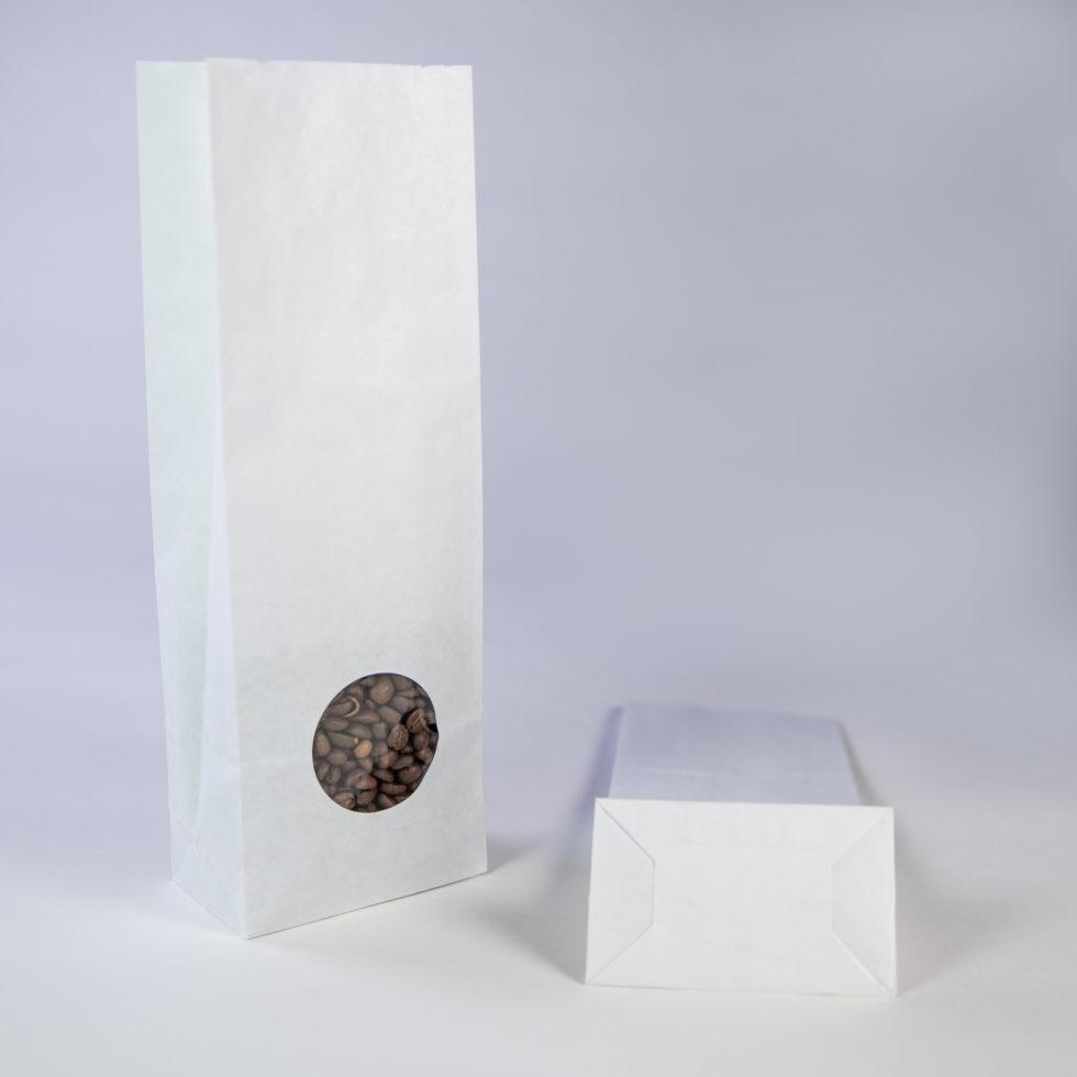 Sac en papier blanc 3 soufflets avec fenêtre ronde