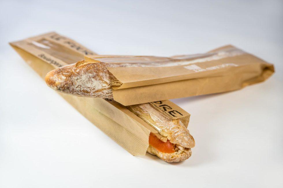 Sacs en papier personnalisables baguette et sandwich avec fenêtre
