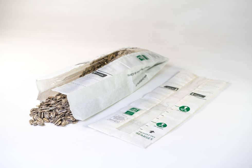 Sac en papier avec fenêtre pour le vrac, graines, céréales